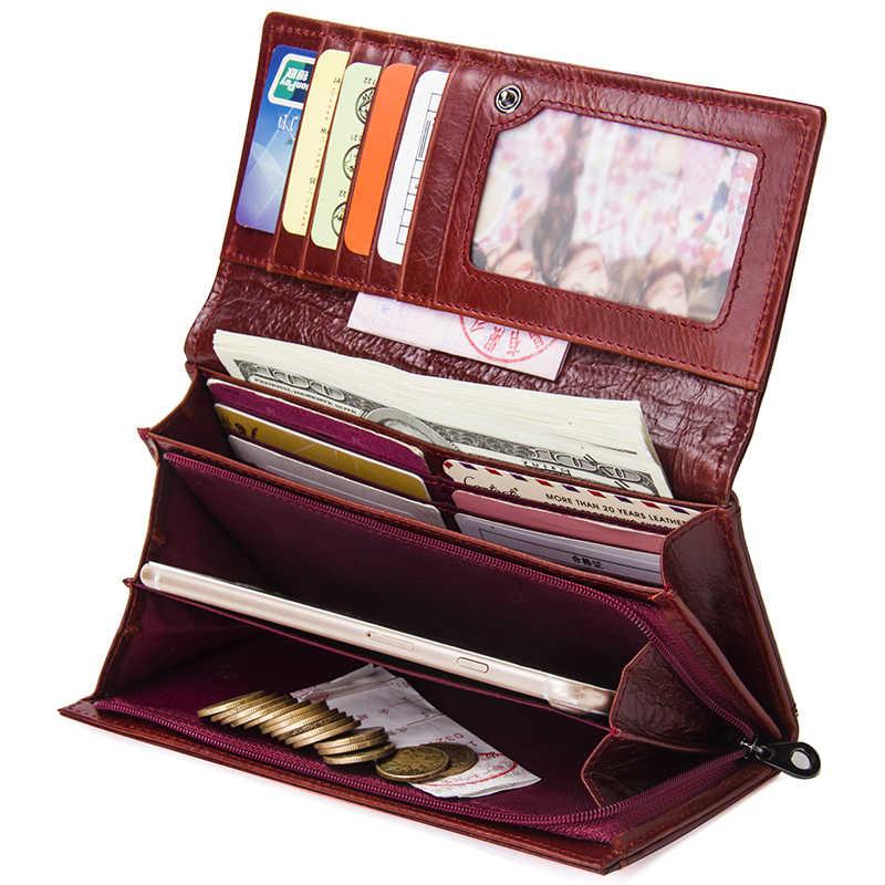 Kontakt nowe oryginalne skórzane damskie portfele kopertówki etui na wiele kart długie damskie torebki z torbą na telefon moda damski portfel