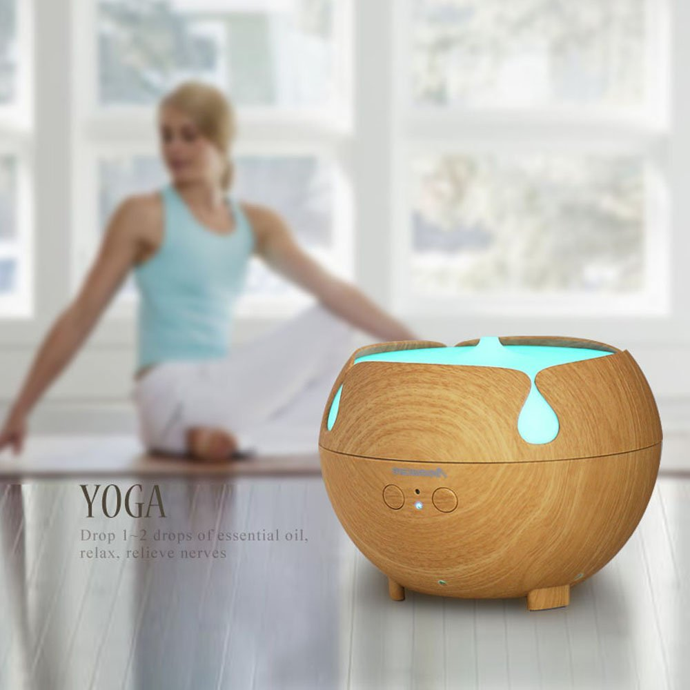 Aromacare 600mL æterisk oliediffuser Mini Air Humidifier Wood Grian - Husholdningsapparater - Foto 3