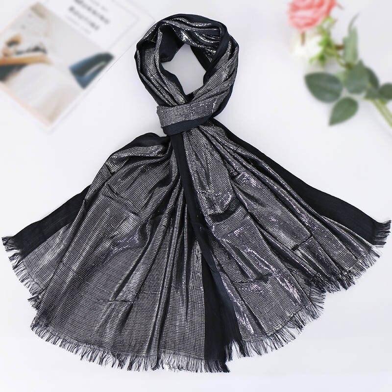 2019 Women Summer Lurex Glitter Shimmer   Scarf   Fashion Plain Solid Shiny   Scarves   Shawls Muslim Hijab   Wrap   Pashmina Stole 180*63Cm