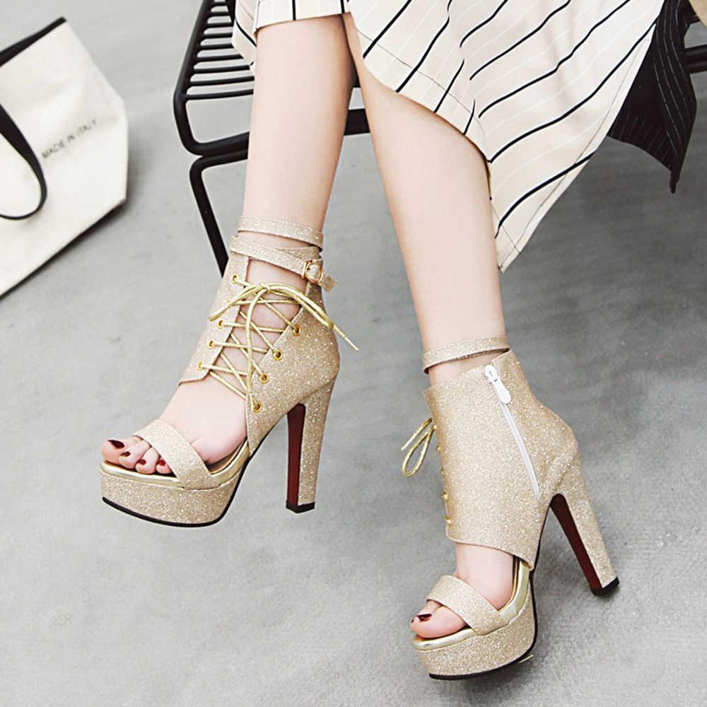 Meotina Yaz Gladyatör Sandalet Kadın Ayakkabı Glitter Platformu Başak Yüksek Topuk Ayakkabı Toka Çapraz bağlı Sandalet Altın Büyük Boy 3-12