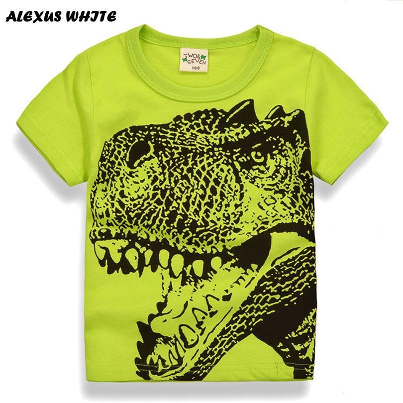 Cartoon Dinosaur T Shirt Boys 2017 Summer Children's Clothing Toddler 100% cotton Tops tee baby Boy Kids bobo bebe T-shirt 2-7Y