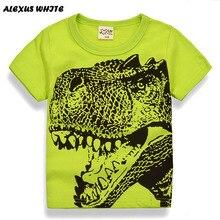 Мультфильм динозавра футболка Обувь для мальчиков 2018 летние Детская одежда малыша 100% хлопок Топы корректирующие футболка для маленьких мальчиков Bobo Bebe футболка От 2 до 7 лет