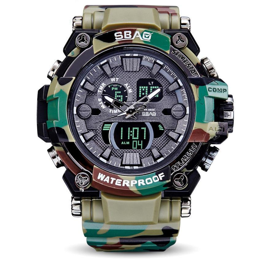 SBAO Swim Sports Watch Camouflage Men Watches 50M Waterproof Clock Electronic Quartz Alarm Clock Military Style Brand Wristwatch