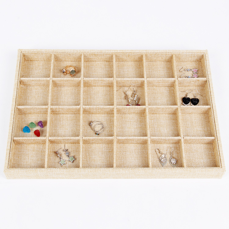 LAN LIN 24 girds jewelry display tray yellow linen display tray necklace Display Show Case font