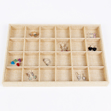 LAN LIN 24 girds jewelry display tray yellow linen display tray necklace Display Show Case earring receive storage 35*24*3.5cm