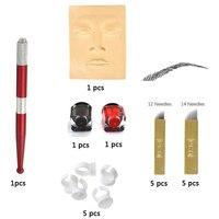 Microblading acessórios Caneta de Tinta Agulha Pele Prática de Tatuagem Permanente Maquiagem Sobrancelha Kit com 10 pcs lâmina de agulha Para O Aluno usar pele tatuagem caneta para tatuagem