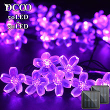 Solar String Lights 21ft 50 LED Fairy Flower Blossom Decorative Light Patio Party Xmas Tree Decorations 2-PACK Purple(China)