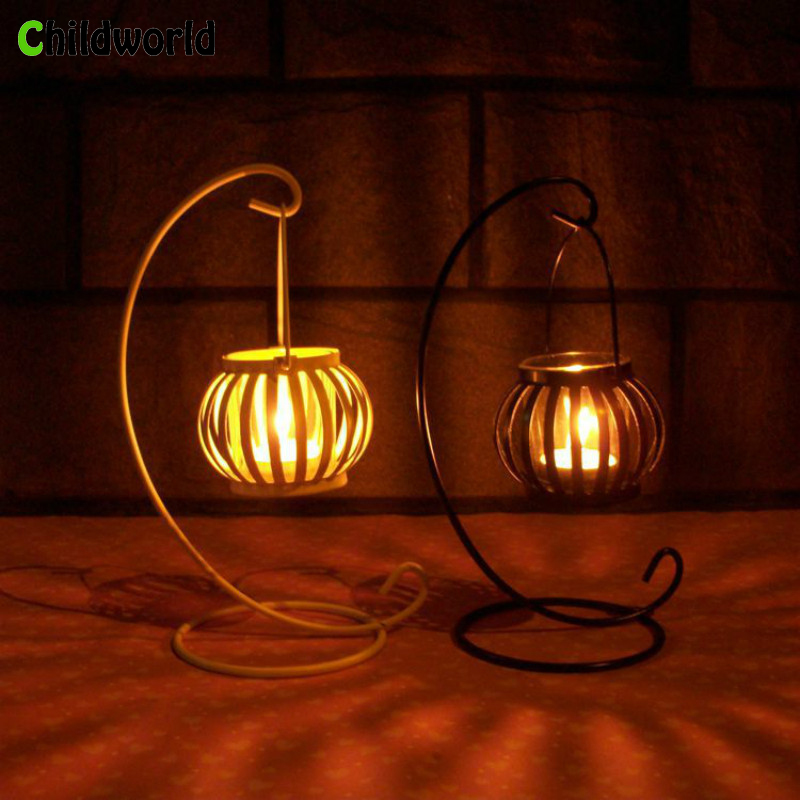 Vintage Old Pumpkin Candlestick European Iron Ornaments Creative Gifts Romantic Wedding Decoration