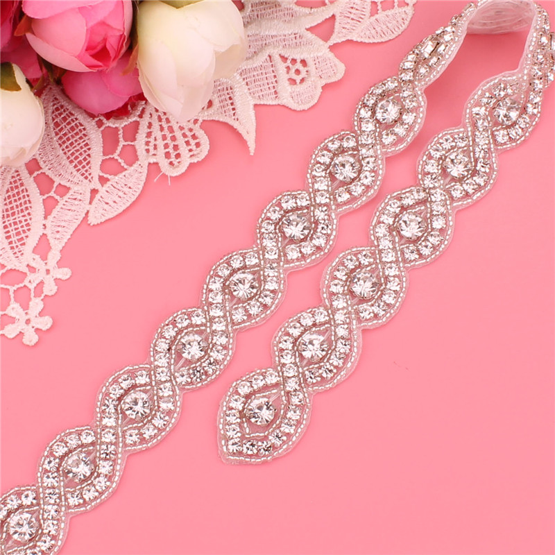 YJWSXF Handmade Bridal Wedding Crystal Rhinestone Bead Flower Dress Dinner Belt