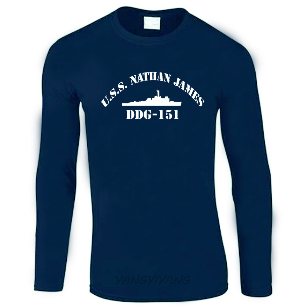 USS Nathan James DDG 151 Logo The Last Ship Long Sleeve Navy T-shirt US Size