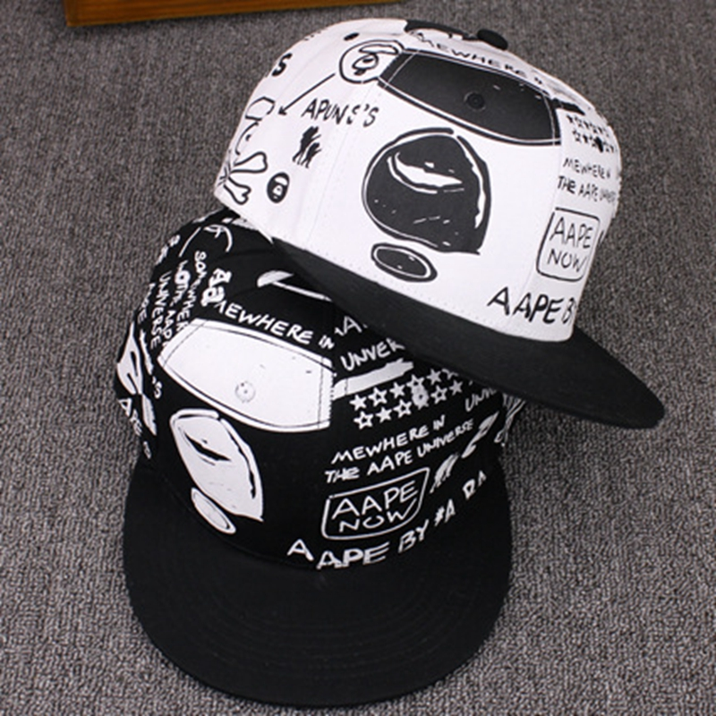 New Fashion Cartoon Hip Hop   Baseball     Caps   Wholesale Adjustable Fitted Hats Casual Letter Printing Wash   Cap   For Men Women