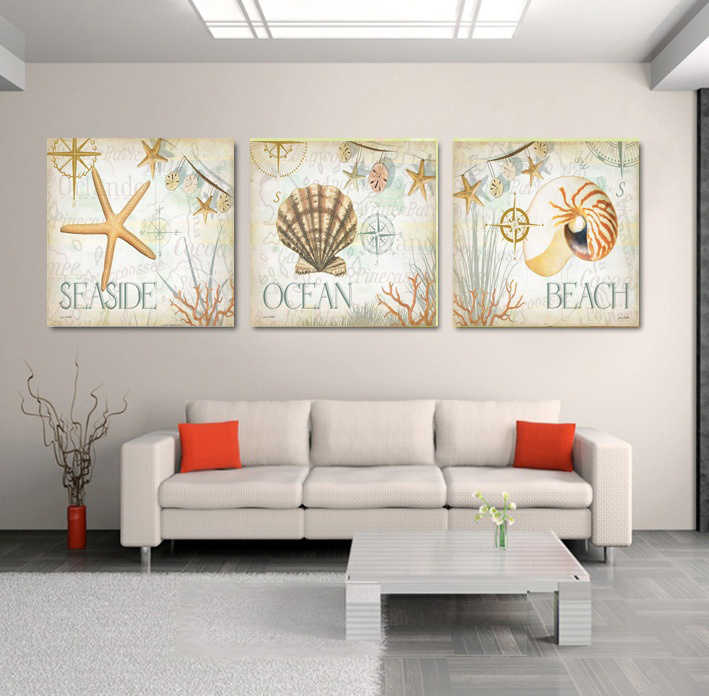 Still Life Of Starfish Shells On Sandy Beach 3 Pieces Panel Paintings Modern  Seascape Pictures Photo Prints On Canvas