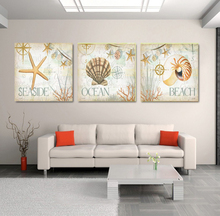 Still Life Of Starfish Shells On Sandy Beach 3 Pieces Panel Paintings Modern  Seascape Pictures Photo Prints Canvas