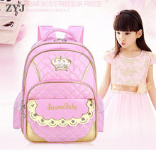 Children Kids Princess Girls Faux PU Leather Backpack Kid Pink Cute Crown Primary School Student Backpacks Daypack Mochila Bag все цены