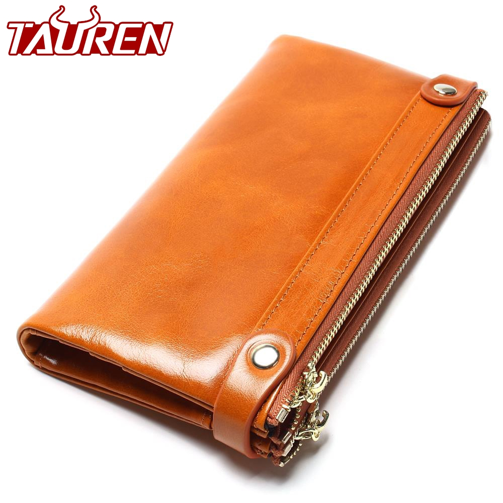Women Wallets Genuine Leather Medium-Long Organizer Wallet Oil Wax Cowhide Hasp Vintage Lady Clutch Carteira Feminina Purse 100% women genuine leather wallet oil wax cowhide purse woman vintage lady clutch coin purses card holder carteira feminina