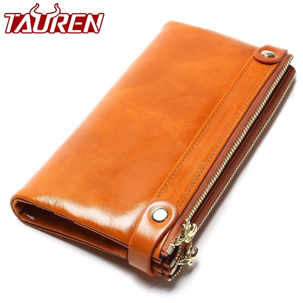 Women Wallets Genuine Leather Medium-Long Organizer Wallet Oil Wax Cowhide Hasp Vintage Lady Clutch Carteira Feminina Purse