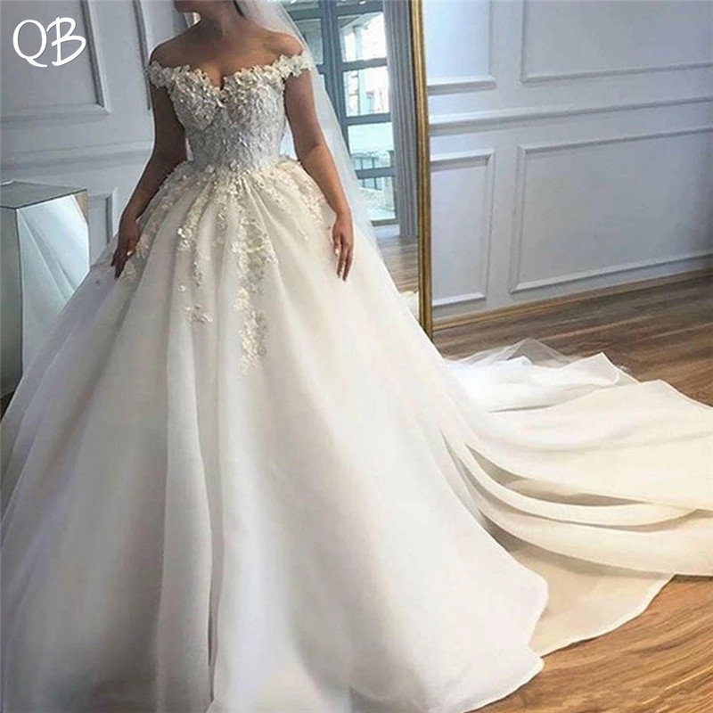 Custom Made Wedding Dresses 2019 Ball Gown Big Train Tulle
