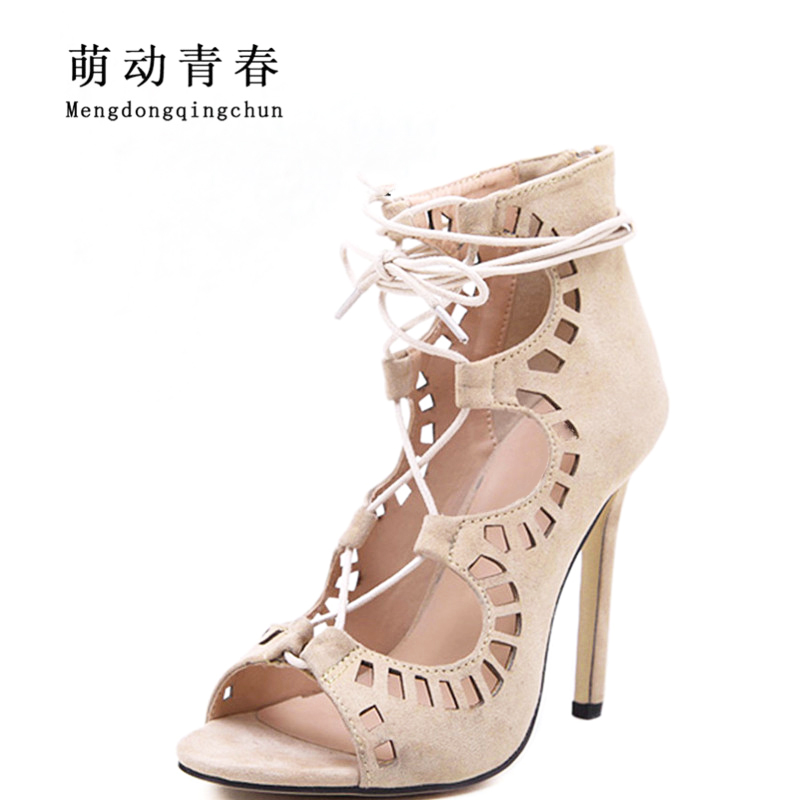 Women Pumps Brand Designer High Heels Cut Outs Lace Up Open Toe Party Shoes Woman Gladiator Sandals Women Ladies Zapatos Mujer size 35 43 women pumps high heels ladies sexy lace up gladiator sandals thin heeled gladiator shoes zapatos mujer shoes woman