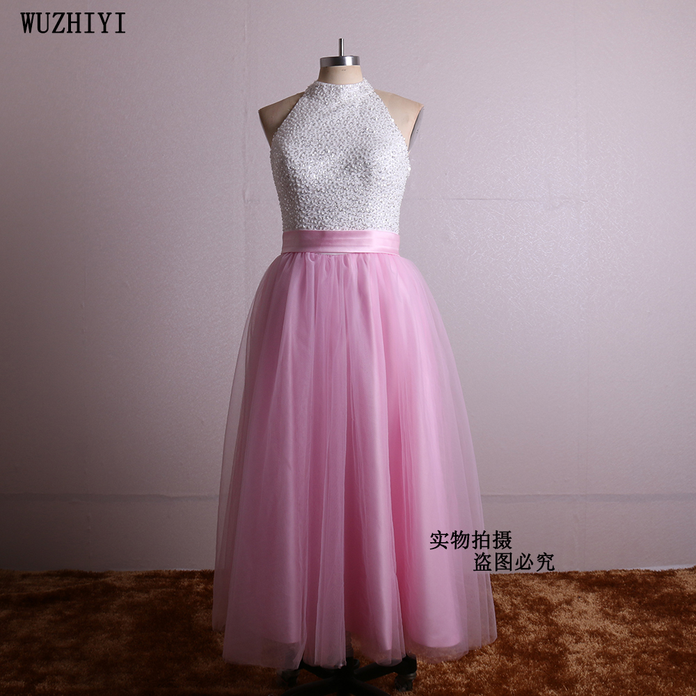 wuzhiyi  High neck white With Pink Prom dresses 2017 Custom made backless Crystal beading Bodice Prom gown Dress For Gratuation