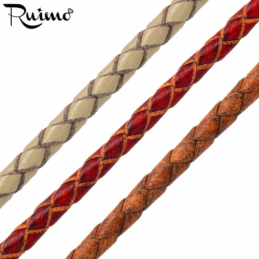 RUIMO 3mm Size Vintage Genuine Leather Cord Round Rope String Cord Braided For DIY Bracelet Necklace Jewelry Making Accessories