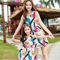 2017 летнее платье красочные утка шаблон мама и дочь платье семья посмотрите девушка и мать женщины моды платья без рукавов