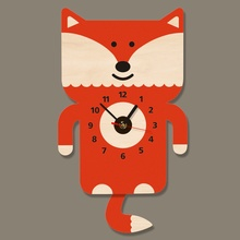 Adorable Fox Wall Art Wooden Wall Clock With Tail Pendulum Woodland Animal Nursery Decorative Modern Wall Watch Fox Loveer Gift