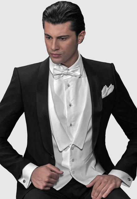 custom made New / black Shawl lapel Groom suits one button Wedding suits 4 piece (Jacket+Pants+Vest+Bowknot)