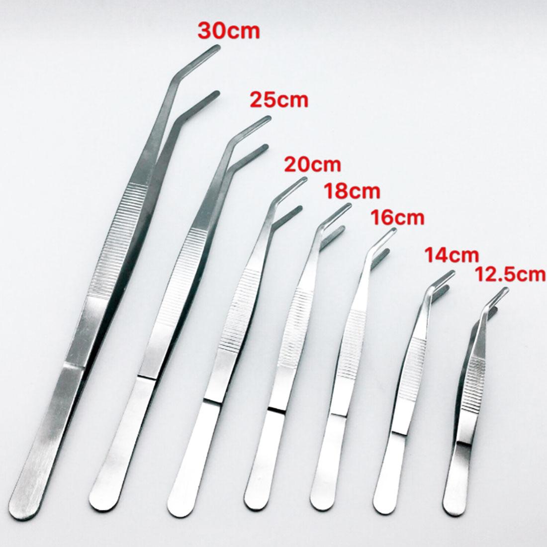 Stainless Steel Elbow Tweezers 12.5cm/14cm/16cm/18cm/20cm/25cm/30cm Clip Tool Medical Repair Tools