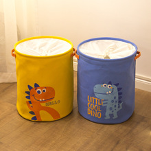 цены на New Happy Dinosaur Pattern Laundry Basket with Handle Dirty Clothes Toys Sundries Storage Basket Round Folding Storage Bucket  в интернет-магазинах