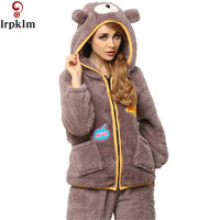 2017 Vrouwelijke Nachtkleding Beer Coral Fleece pijamas mujer Voor Vrouwen Payamas Winter Pajama Vrouwen Flanel Dier Pyjama Sets SY700