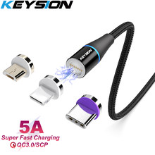 Keysion 5A Magnetic USB Kabel untuk Samsung S10 S9 S8 A80 A50 A70 A30 Tipe-C Cepat Kabel telepon Magnet Charger untuk A7 2018 M20 A90(China)