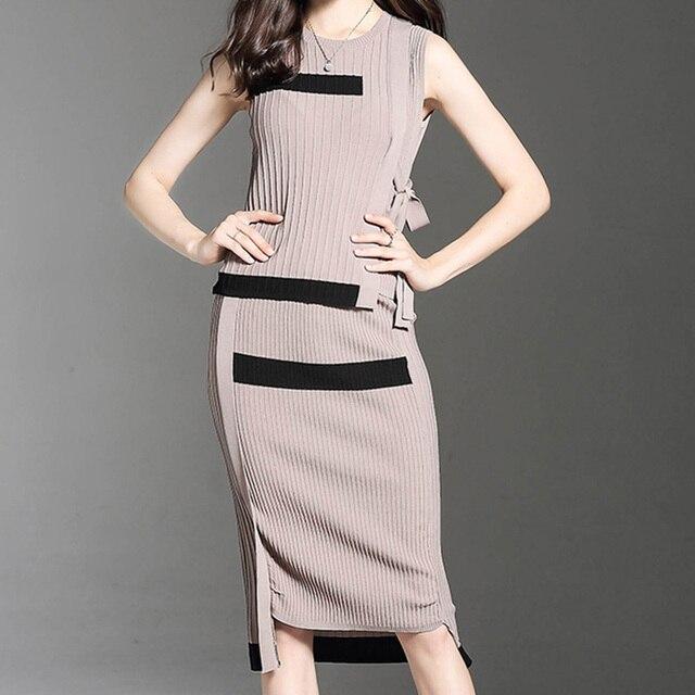 4a1d4550b0 Otoño elegante traje de falda para mujer 2019 de moda de invierno de punto  traje de