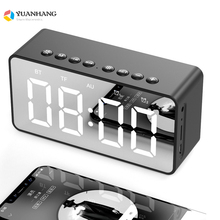 Bluetooth 5.0 Portable Wireless LED digital alarm clock stereo sound Bluetooth speaker,time display support TF AUX with Micphone bluetooth alarm clock wireless speaker with led display