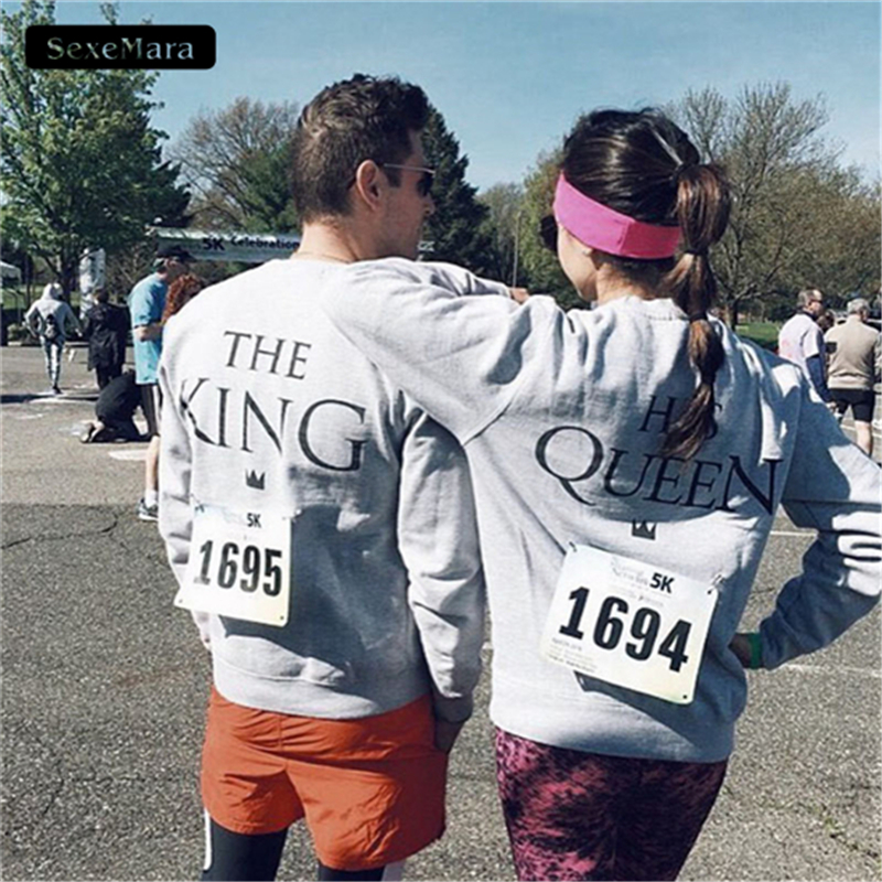 2018 New The KING HIS QUEEN Printed Sweatshirts Women O-Neck Casual Lovers Pullover Hoodies Men Sweatshirts for Couples H1070
