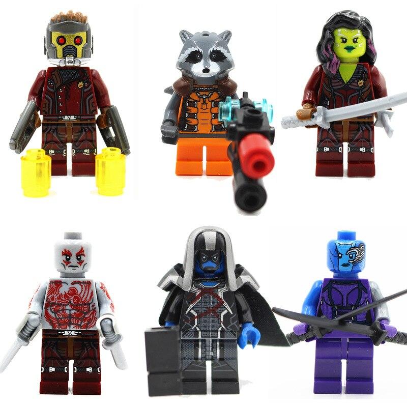 Decool 2017 Super heroes move 6pcs/lot Guardians of the Galaxy ronan/camora/drax the destroyer/nebula Building Blocks DIY Toys