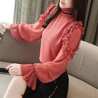 2019 New Fashion Female Clothing Unique Blouse Shirt Chiffon Tops shirt Women Fashion Red Blouse Apricot Long sleeve S 2XL