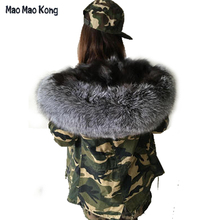 Women Large Real Raccoon Fur Collar Army Camouflage Coats Real Fox Fur Inner Jacket Female hooded Winter short Jackets