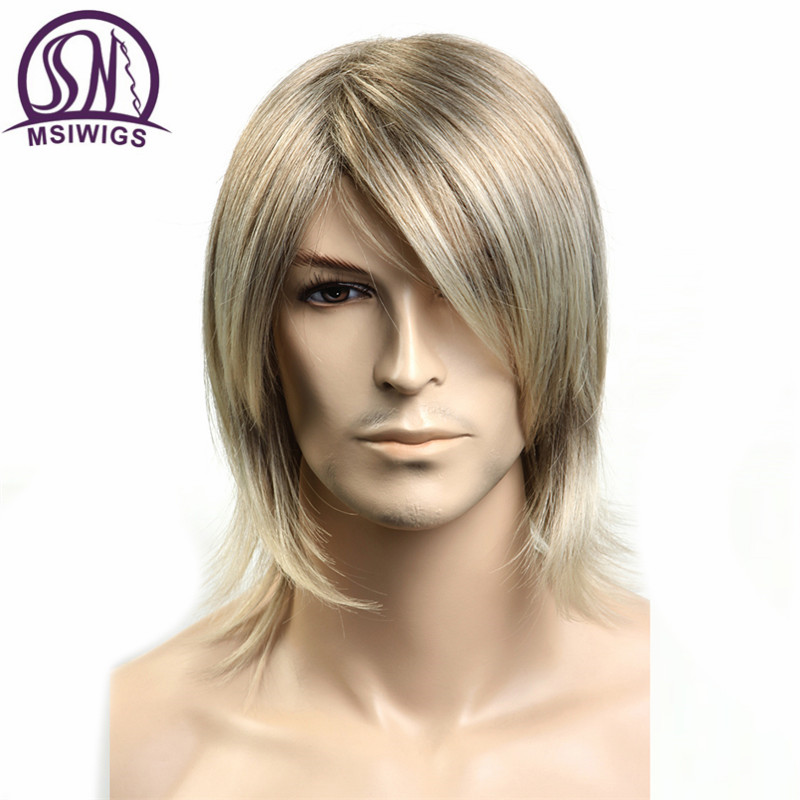MSIWIGS Short Wavy Mens Wigs Heat Resistant Japanese Fiber Blonde Ombre Male Synthetic Wig with Bangs