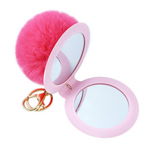 1Pcs 12 Color Cute Puff Ball There Mirror KeyChains  Kids Women Rings Android Car Bag Santa Claus Key Chain