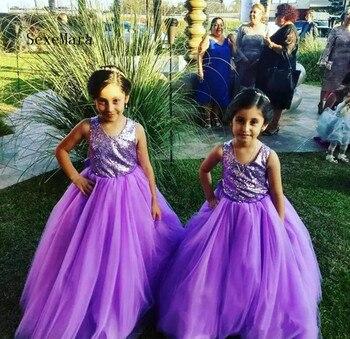 Sequined Top Purple Tulle Flower Girl Dress For Wedding Cross Back Designed For Girls Birthday Kids Formal Wears Custom Made