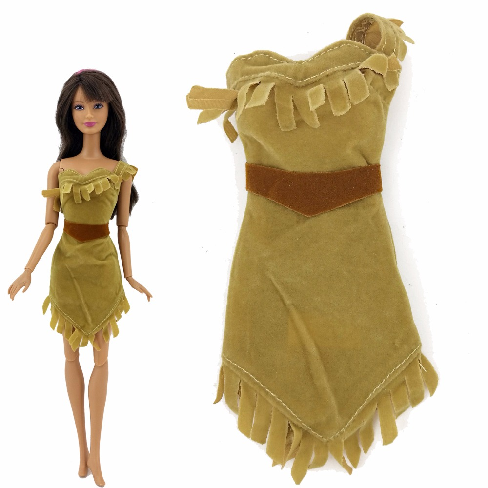1x Exotic Indian Fairy Tale Dress Princess Gown Dancing Party Clothes For Barbie Doll Pocahontas  Kid Girl Birthday Gift xMas fairy tale dress princess clothing copy brave merida long sleeve clothes for barbie doll 11 5 12 puppet girl toys gift