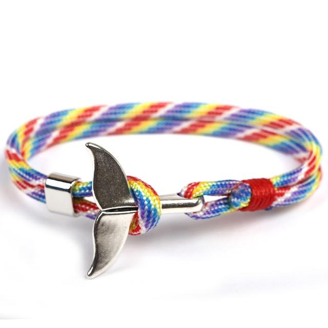 TANGYIN 2018 Trend Anchor Bracelet Whale Tail Shape Men Survival Rope Bracelet Men Male Women Jewelry Simple Hook Bracelts Ho't