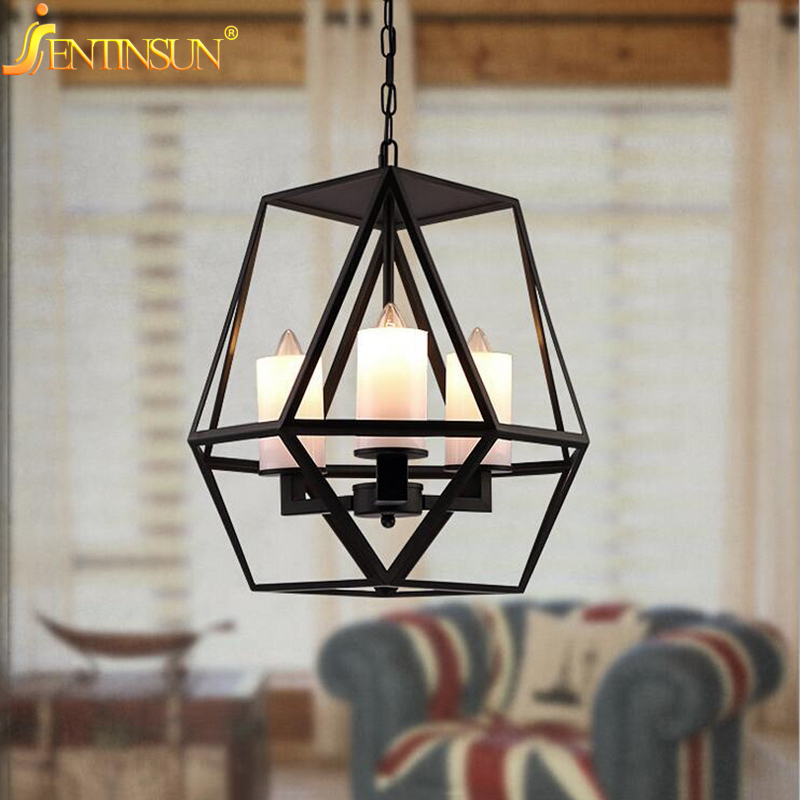 American Retro Pendant lights Industrial Loft Style Wrought Iron Cages Candelabra Candle Pendant Light Lamp For Bar Restaurant free shipping candle lamp wrought iron restaurant bedroom chandeliers rural white candle wrought iron pendant led lights