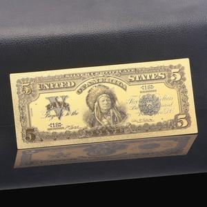 1899 год США USD деньги 24k Золотая банкнота USD цветные банкноты с Покрытием Поддельные деньги 5 долларов коллекции банкнот Бесплатная доставка