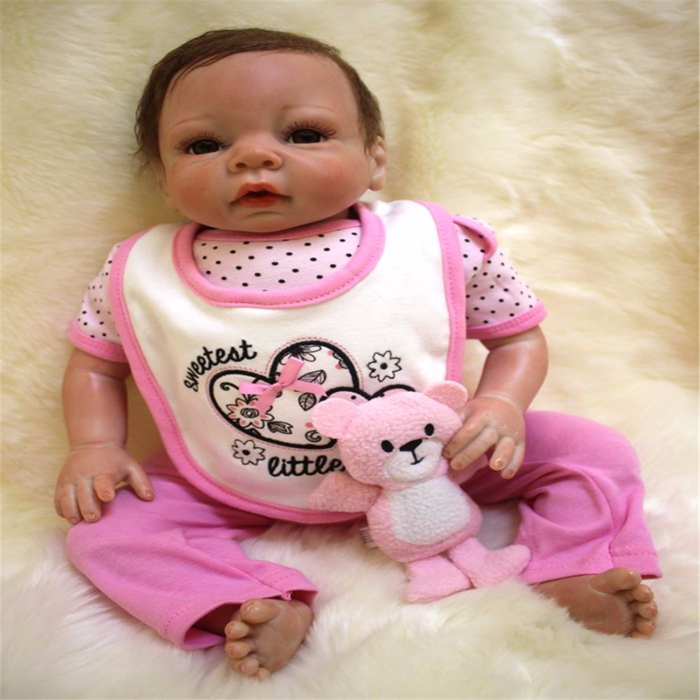 20 inch 50 cm Silicone baby reborn dolls, lifelike doll reborn Pink suit saliva towel cute doll saliva baby 15g 20