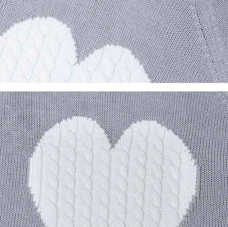 18 new winter white knitted sweater Women lantern sleeve loose gray pullover female Soft warm autumn casual love heart jumper 13