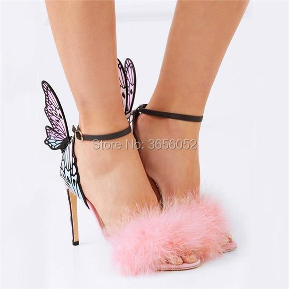 Qianruiti Plume Sandales Pic Papillon Mince Sandalias D'été Doux Dames As Multicolore Mujer Talons Haute Chaussures Ailes Fourrure Rose Femmes FUqF6wZpr