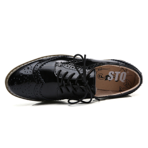 Image 4 - STQ 2020 חורף נשים שטוח נעלי פלטפורמת סניקרס מבטא תחרה עד עקבים שטוחים נעלי נשים עור דירות קריפרס מקרית נעליים 366