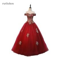ruthshen Ball Gown Gold Appliques Vestidos De 15 Quinceanera Dresses Red Black Off The Shoulder Sweet Sixteen Debutante Dress
