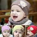 2016 Do Bebê da Menina do Menino das Crianças Tampão do Inverno Urso Dot Algodão Misturado Quente Beanie Hat 8ONO